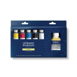 Lefranc Bourgeois, Colori ad Olio Fine, Assortimento 5 tubi + Medium