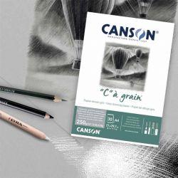 """Blocco Carta Disegno Canson """"C"""" à Grain, Color Grigio"""