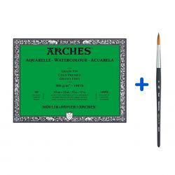 Kit Pittura Acquerello, Carta Arches + Pennello Simil Martora