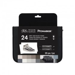 W&N Promarker, Black and Greys, 24 pz.